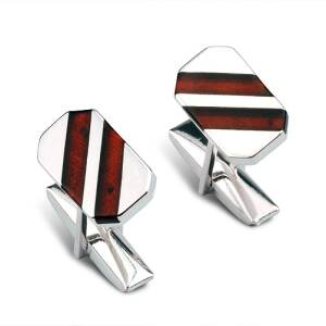 Cut With Strips Cuff Link
